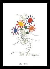 Bouquet With Hands art print poster with simple frame
