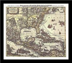 Map Of South Eastern America art print poster with simple frame