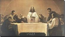 Last Supper art print poster with block mounting