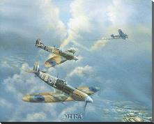 Straggler (Spitfires) art print poster with block mounting