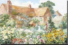 Cottage In Summer art print poster with block mounting