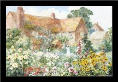 Cottage In Summer art print poster with simple frame