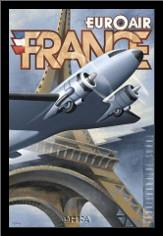 Euroair France art print poster with simple frame