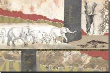 Serengeti Elephants art print poster with block mounting