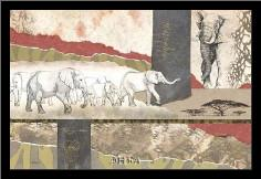 Serengeti Elephants art print poster with simple frame