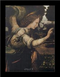Angel (Detail From The Annunciation) art print poster with simple frame