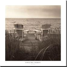 Beach Chairs art print poster with block mounting