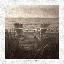 Beach Chairs art print poster transferred to canvas