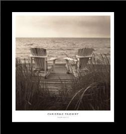 Beach Chairs art print poster with simple frame