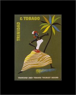 Trinidad and Tobago art print poster with simple frame