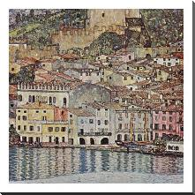 Malcesine Sul Garda art print poster with block mounting