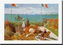 Balcony on the Sea, Stadresse art print poster with block mounting