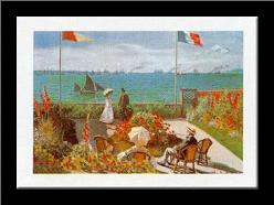 Balcony on the Sea, Stadresse art print poster with simple frame