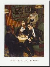 Cigar, Cognac in the Salon art print poster with block mounting