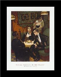Cigar, Cognac in the Salon art print poster with simple frame