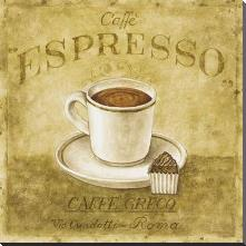Caffe Expresso art print poster with block mounting