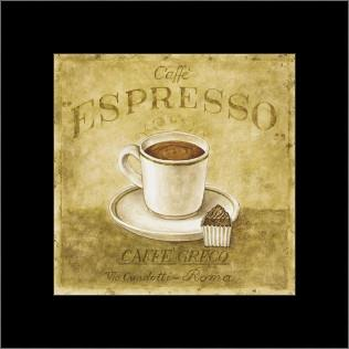 Caffe Expresso art print poster with simple frame