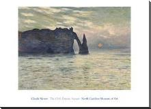 Cliff, Etretat, Sunset, 1883 art print poster with block mounting