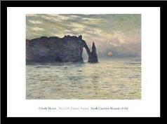 Cliff, Etretat, Sunset, 1883 art print poster with simple frame