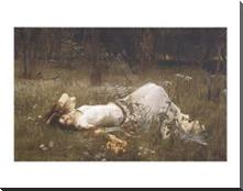 Ophelia, 1St Exhibited 1889 art print poster with block mounting