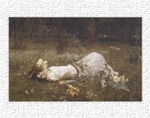 Ophelia, 1St Exhibited 1889 art print poster transferred to canvas