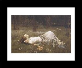 Ophelia, 1St Exhibited 1889 art print poster with simple frame