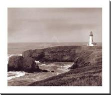 Yaquina Light art print poster with block mounting