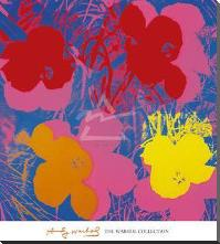 Flowers, 1970 (Red, Yellow, Orange On Bl art print poster with block mounting