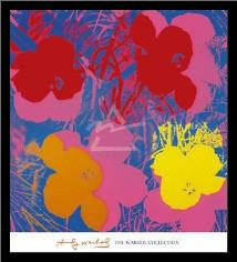 Flowers, 1970 (Red, Yellow, Orange On Bl art print poster with simple frame