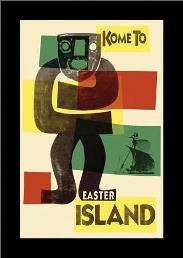 Easter Island art print poster with simple frame