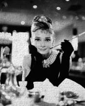 Audrey Hepburn - Breakfast At art print poster transferred to canvas