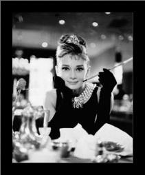 Audrey Hepburn - Breakfast At art print poster with simple frame