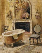 French Bath I art print poster transferred to canvas