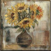 Sunflowers In Bronze Vase art print poster with block mounting