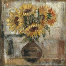 Sunflowers In Bronze Vase art print poster transferred to canvas