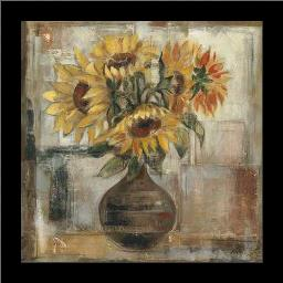 Sunflowers In Bronze Vase art print poster with simple frame