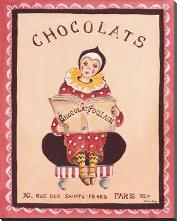 Chocolats art print poster with block mounting