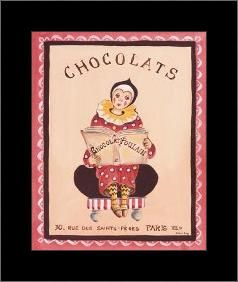Chocolats art print poster with simple frame