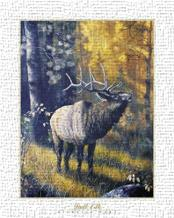 Bull Elk art print poster transferred to canvas
