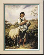 Tending The Sheep art print poster with block mounting