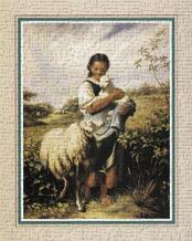 Tending The Sheep art print poster transferred to canvas