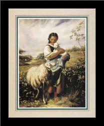 Tending The Sheep art print poster with simple frame