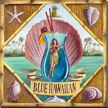 Blue Hawaiian art print poster with block mounting