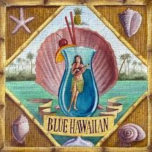 Blue Hawaiian art print poster transferred to canvas