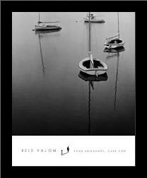 Four Sailboats, Cape Cod art print poster with simple frame