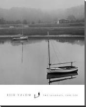 Two Sailboats, Cape Cod art print poster with block mounting