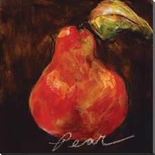 Red Pear art print poster with block mounting