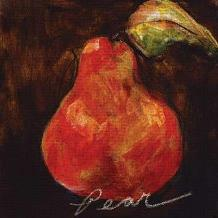 Red Pear art print poster transferred to canvas