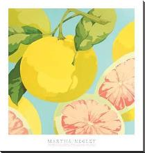 Fresh Grapefruits art print poster with block mounting