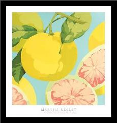 Fresh Grapefruits art print poster with simple frame